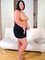 Chubby brunette gets rid of her little black dress