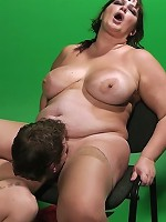 Cute plumper model got banged by a video guy whose bitchy wife later showed up