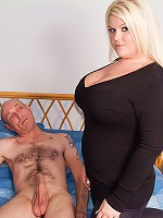 Chubby blonde caught guy rubbing it and seduced him into hot scandalous sex
