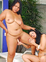 Pudgy MILF sluts strip and lick each others wet pussies!
