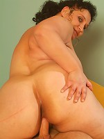 Horny mature BBW Belane sucking off a cock before taking it in her fat covered muff live
